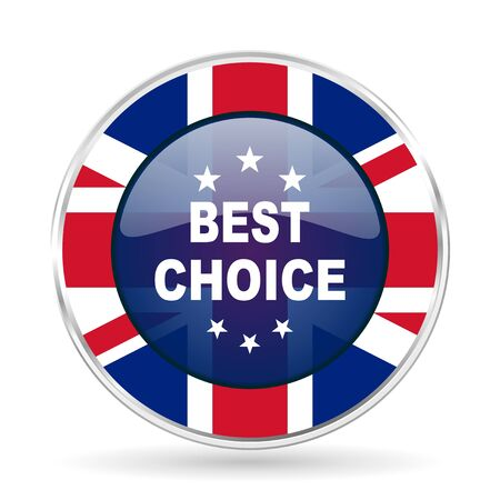 best choice british design icon - round silver metallic border button with Great Britain flag