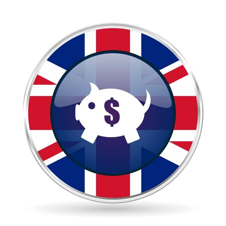 piggy bank british design icon - round silver metallic border button with Great Britain flag