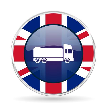 truck british design icon - round silver metallic border button with Great Britain flag Stock Photo