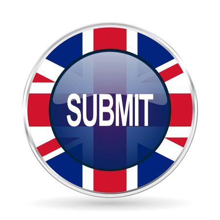 submit british design icon - round silver metallic border button with Great Britain flag Stock Photo