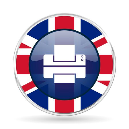 Printer british design icon - round silver metallic border button with Great Britain flag