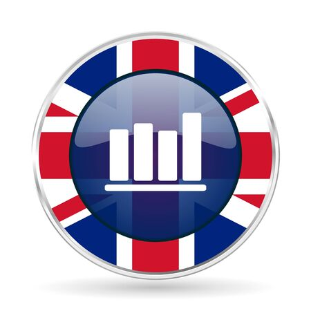 industry trends: bar chart british design icon - round silver metallic border button with Great Britain flag. Stock Photo