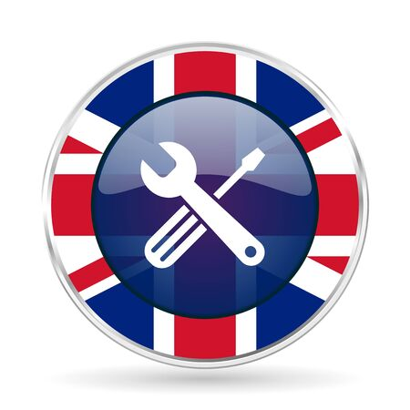 tools british design icon - round silver metallic border button with Great Britain flag