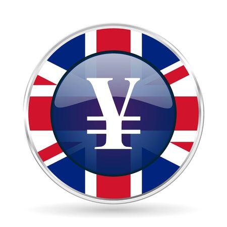 yen british design icon - round silver metallic border button with Great Britain flag