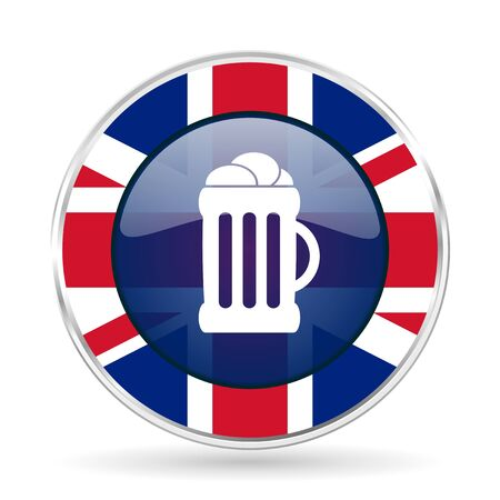 beer british design icon - round silver metallic border button with Great Britain flag