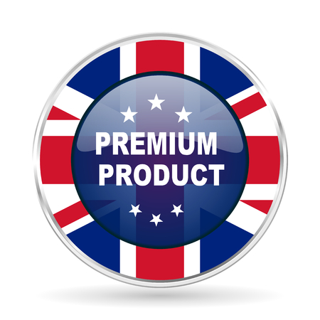 premium product british design icon - round silver metallic border button with Great Britain flag