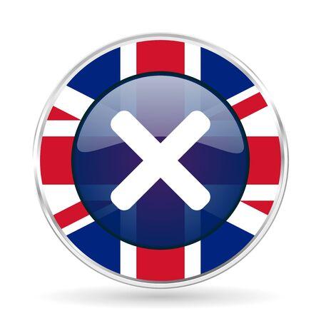 Cancel british design icon - round silver metallic border button with Great Britain flag
