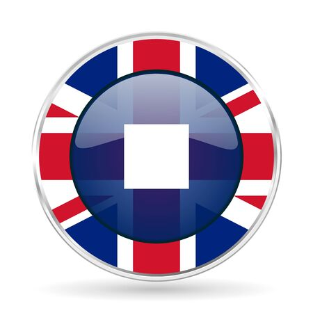 eject icon: stop british design icon - round silver metallic border button with Great Britain flag Stock Photo