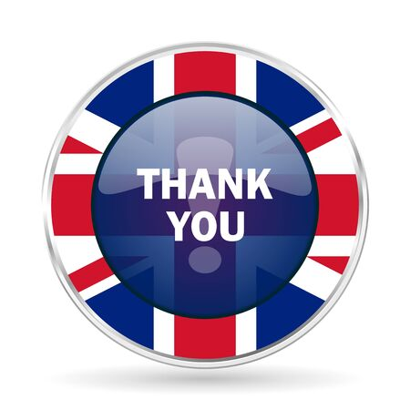 thank you british design icon - round silver metallic border button with Great Britain flag