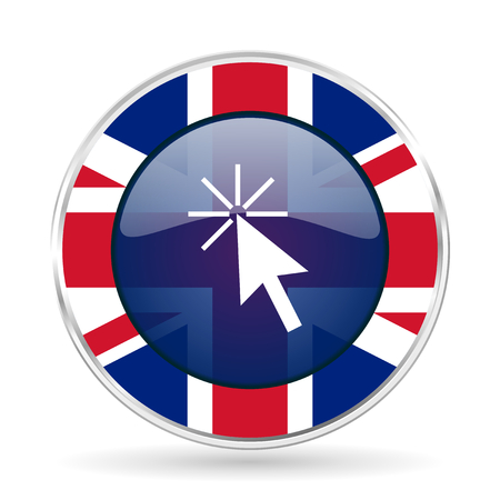 Click here british design icon - round silver metallic border button with Great Britain flag