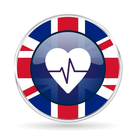 pulse british design icon - round silver metallic border button with Great Britain flag