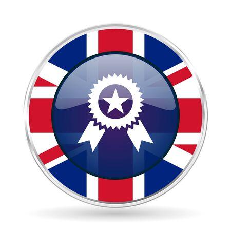award british design icon - round silver metallic border button with Great Britain flag