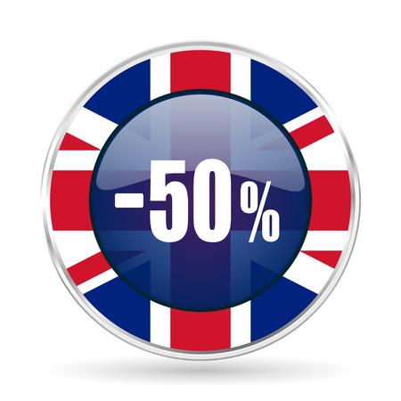 50 percent sale retail british design icon - round silver metallic border button with Great Britain flag
