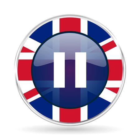 pause british design icon - round silver metallic border button with Great Britain flag