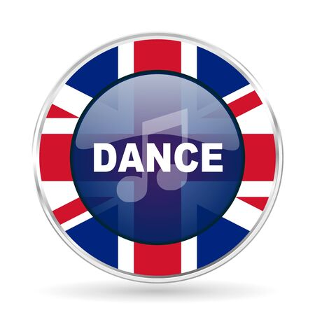 dance music british design icon - round silver metallic border button with Great Britain flag