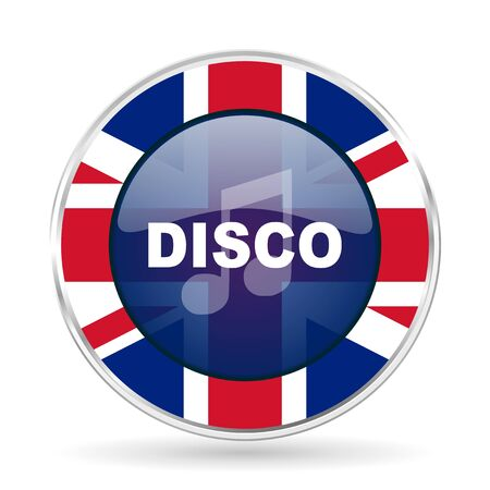 disco music british design icon - round silver metallic border button with Great Britain flag Stock Photo