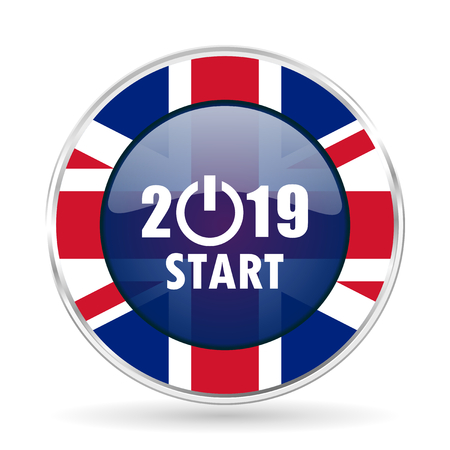 new year 2015 british design icon - round silver metallic border button with Great Britain flag Stock Photo