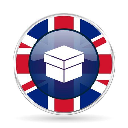 box british design icon - round silver metallic border button with Great Britain flag