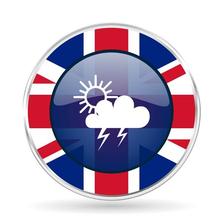 storm british design icon - round silver metallic border button with Great Britain flag