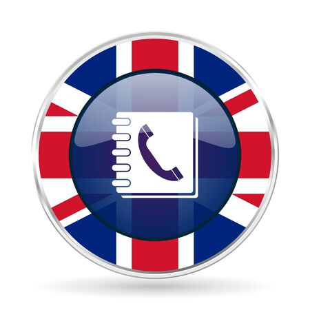 phonebook british design icon - round silver metallic border button with Great Britain flag Stock Photo