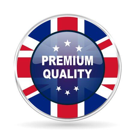 premium quality british design icon - round silver metallic border button with Great Britain flag