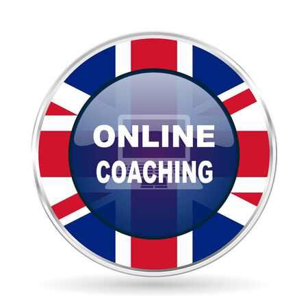 online coaching british design icon - round silver metallic border button with Great Britain flag