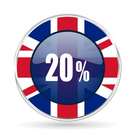 uk money: 20 percent british design icon - round silver metallic border button with Great Britain flag