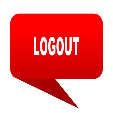 logout: logout bubble red icon Stock Photo