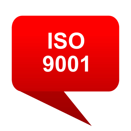 iso 9001 bubble red icon Stock Photo