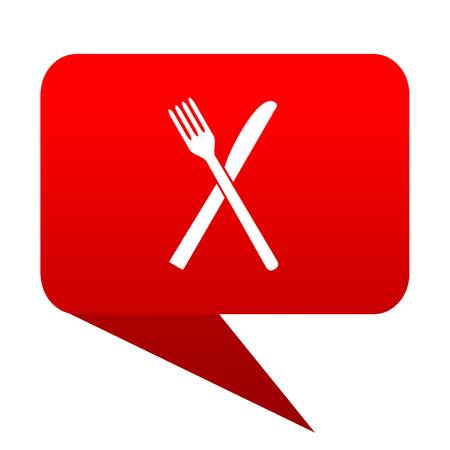 restaurant bubble red icon Stock Photo