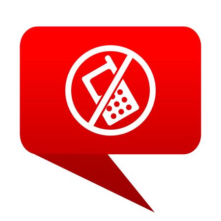 no phone bubble red icon Stock Photo