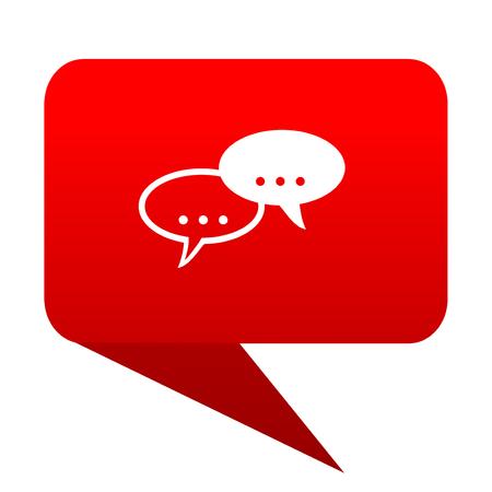 forum bubble red icon Stock Photo