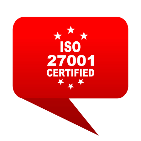 iso 27001 bubble red icon