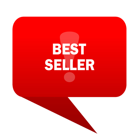 seller: best seller bubble red icon Stock Photo