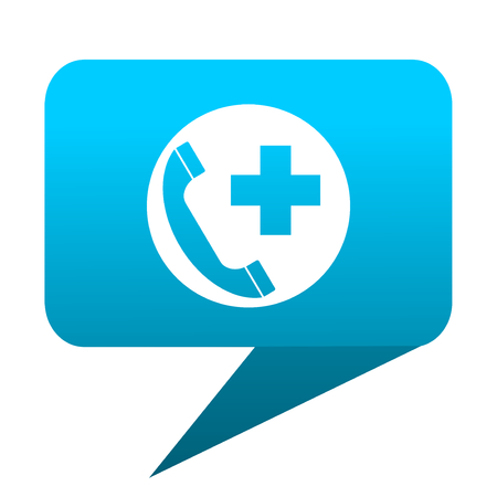 emergency call: emergency call blue bubble icon