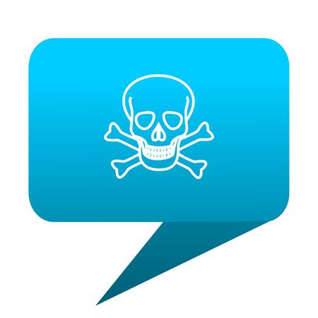 skull blue bubble icon Stock Photo