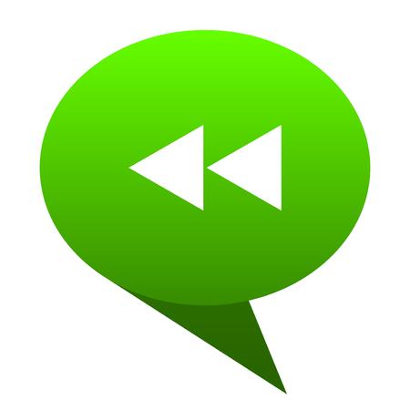 eject icon: rewind green bubble web icon