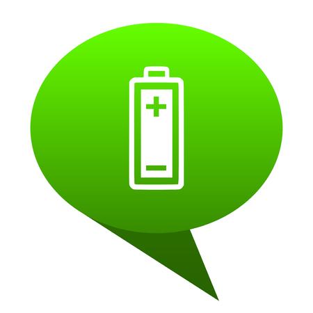 accumulator: battery green bubble web icon Stock Photo