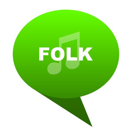 folk music green bubble web icon