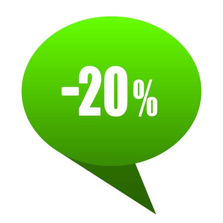 20 percent sale retail green bubble web icon Stock Photo