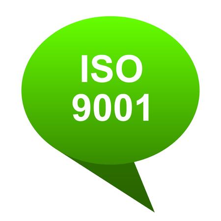 iso 9001 green bubble web icon Stock Photo
