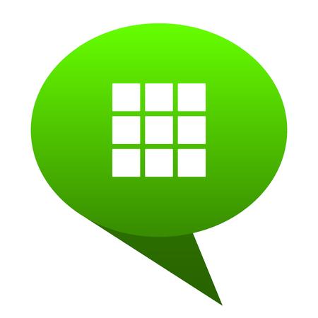 thumbnails: thumbnails grid green bubble web icon Stock Photo