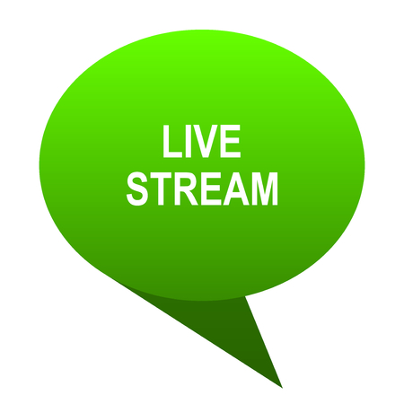 livestream: live stream green bubble web icon