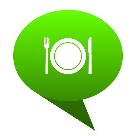 restaurant green bubble web icon Stock Photo