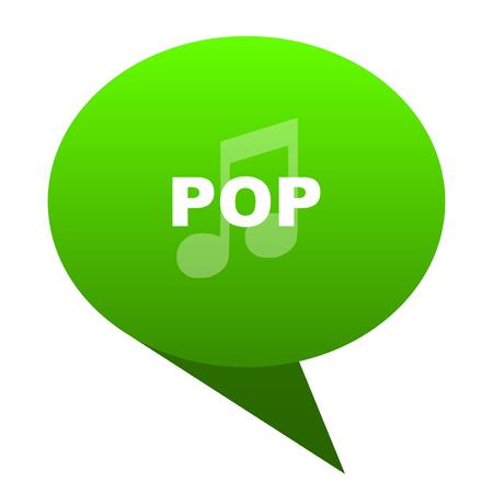 listen live stream: pop music green bubble web icon Stock Photo