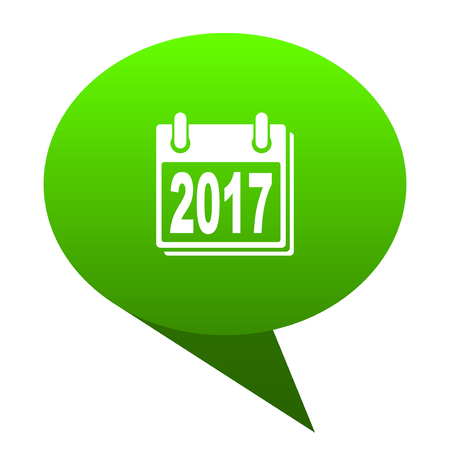 new year 2017 green bubble web icon