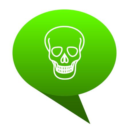 skull green bubble web icon