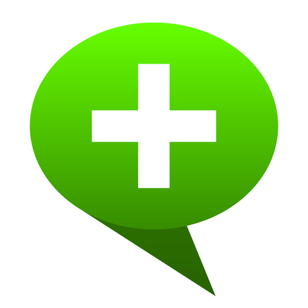 Plus green bubble web icon