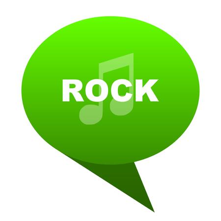 listen live stream: rock music green bubble web icon Stock Photo