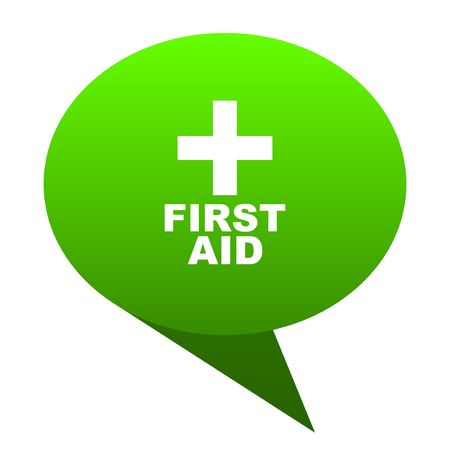 first aid green bubble web icon Stock Photo
